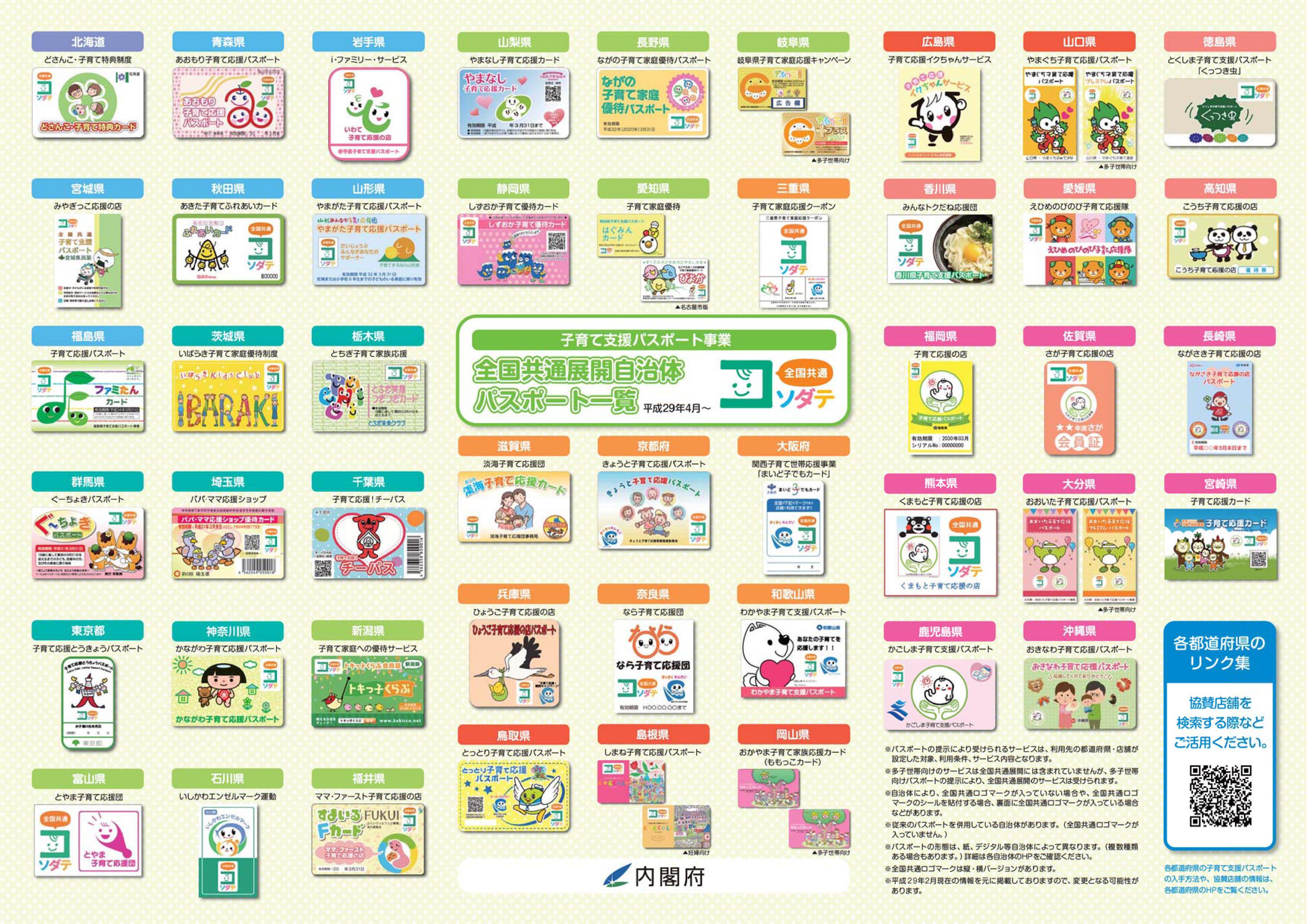 全国子育て支援パスポート一覧見本